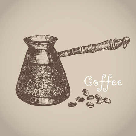 Vector illustration with sketch turkish coffee pot. Sketch of kitchen utensils in vintage style. Vector illustration. Hand drawn sketch. Vectores