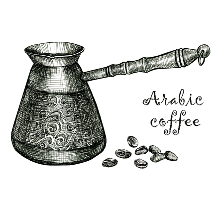 Illustration with sketch turkish coffee pot. Sketch of kitchen utensils in vintage style. Hand drawn sketch. Ink drawing.