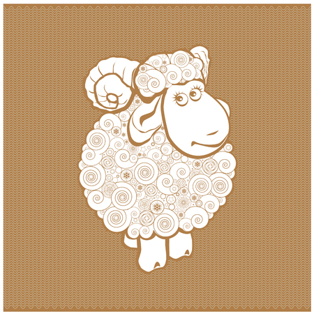Funny sheep line icon, linear pictogram isolated on white background. Silhouette of the sheep. Sheep on a background of wool.