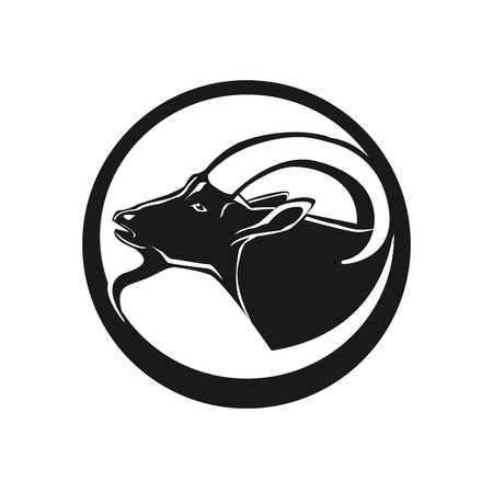 Goat head line icon, linear pictogram isolated on white background. Silhouette of the goat. Goat's head in a monochrome version. Vectores