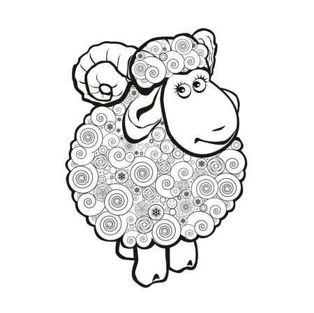 Funny sheep line icon, linear pictogram isolated on white background. Silhouette of the sheep. Cartoon illustration of funny ram for coloring book.