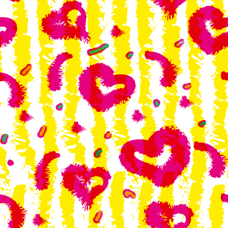 Bright summer pattern with hearts in yellow strips.Vector seamless pattern design with sketchy stripes. Vertical lines with torn paper effect. Illustration