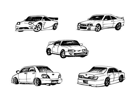 Set of hand drawn cars painted by hand with black ink fountain pen. Set of black and white vector illustrations. Sketch cars set.