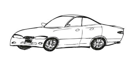 Hand drawn car sketch. Car abstract vector design concept. View of hand drawn car model.