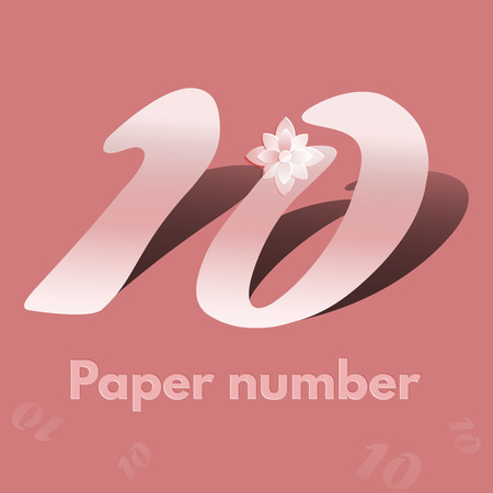 number ten: White cut  number  ten isolated over pastel background. Number 10 paper cut style with shadows.  Number ten 3D origami stylen with long shadow. Vector illustration