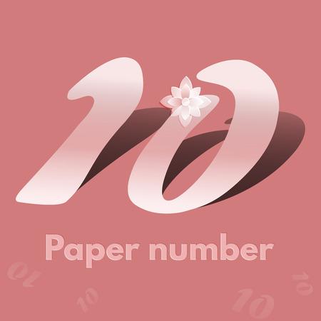 numero diez: White El número de corte de diez aislado más de fondo en colores pastel. El número de estilo de corte de papel 10 con las sombras. El número diez Origami 3D stylen con una larga sombra. ilustración vectorial Vectores