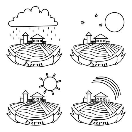 dia y noche: paisaje rural con campos y casas. D�a, noche, arco iris, la agricultura Paisaje de la lluvia. Americana agricola dibujado dibujo vectorial. ilustraci�n de grabado. Para los anuncios de panader�a y de viaje, folletos, etiquetas