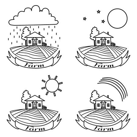 farm hand: Rural landscape with fields, house and tree. Day, night, rainbow, rain agriculture Landscape. American Farm hand drawn vector sketch. Engraving illustration. For travel ads, brochures, labels Illustration