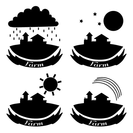 farm hand: Rural landscape with fields and houses. Day, night, rainbow, rain agriculture Landscape. American Farm hand drawn vector sketch. Engraving illustration. For bakery and travel ads, brochures, labels Illustration
