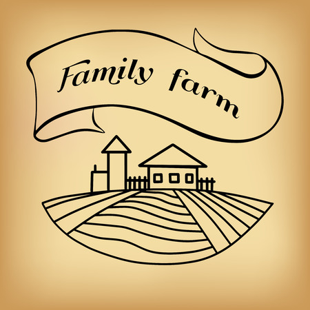 farm hand: Black farm and field on beige background. Agriculture Landscape. American Farm hand drawn vector sketch. Engraving illustration. Great for bakery and travel ads, brochures, labels Illustration