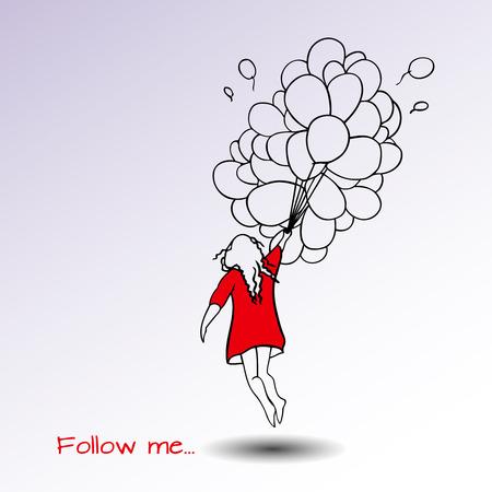 proposition: Follow me hand drown vector illustration. Illustration