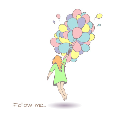 drown: Follow me hand drown vector illustration. Illustration