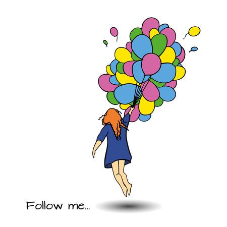 follow me: Follow me hand drown vector illustration. Illustration