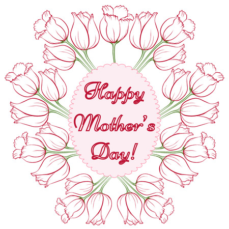 drown: Happy Mothers Day. Vector festive holiday illustration with lettering and tulips. Happy mother day background. Hand drown illustration