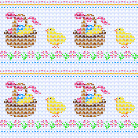 knitwear: Seamless knitted pattern with easter ornament. Vector illustration from multicolor elements with chicks at a basket and flower border on a white background. Knitwear texture wallpaper or greeting card
