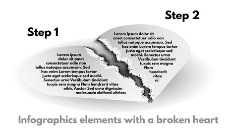 torn heart: The pieces of heart from torn paper on a white background. Infographic element set with a broken heart. Paper banners template graphic or website layout. Vector illustration