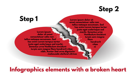 torn heart: The pieces of red heart from torn paper on a white background. Infographic element set with a broken heart. Paper banners template graphic or website layout. Vector illustration Illustration
