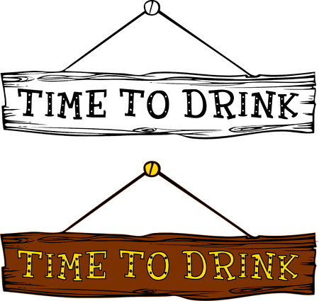 Hand drawn design element. engraving style. Vector illustration. Invitation to a party - time to drink.