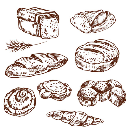 Vintage hand drawn sketch style bakery set. Set of fresh bread. Hand drawn illustration of bread and bakery product. Bakery hand drawn collection.