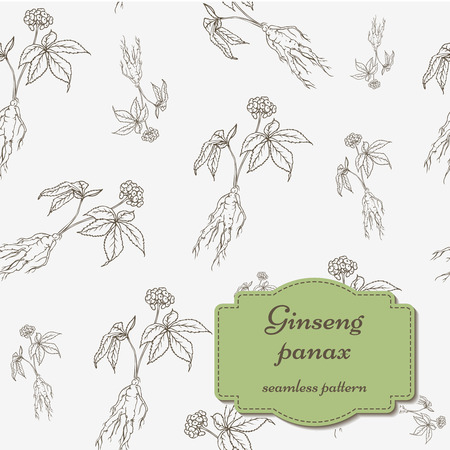 Root and leaves panax ginseng seamless pattern. Ilustracja