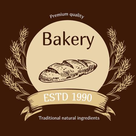 パンや手で焼く店エンブレムのベクター デザインには、パンのイラストが描かれています。パン屋さんのパン屋さん、パンのロゴ。看板のロゴ、ブ