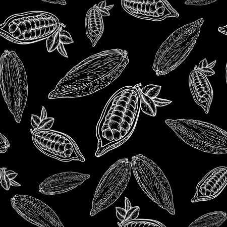 nutrient: Cocoa hand drawn seamless pattern on black background. Cocoa botany vector illustration. Doodle of healthy cocoa nutrient food. Cocoa engraving sketch etch line.  Food cocoa dessert drink ingredient