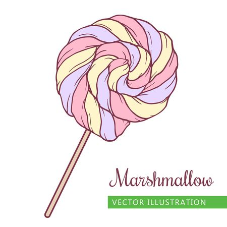 Spiral marshmallows candy hand drawn vector Illustration.  Pink,  lilac and yellow spiral candy.  Sweet icon -  spiral marshmallow