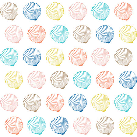 hand print: Vector seamless pattern with hand drawn scallop shells.  Marine background in engraved style. Hand drawn underwater vector illustration with seashells.