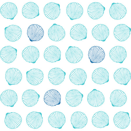 Vector seamless pattern with hand drawn scallop shells.  Marine background in engraved style. Hand drawn underwater vector illustration with seashells.