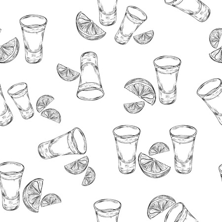 Vector seamless pattern with hand drawn tequila shot and slice lime. Tequila glass with slice of lime background in engraved style. Illustration
