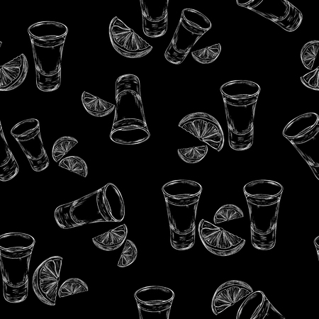 Vector seamless pattern with hand drawn tequila shot and slice lime. Tequila glass with slice of lime background in engraved style. Çizim