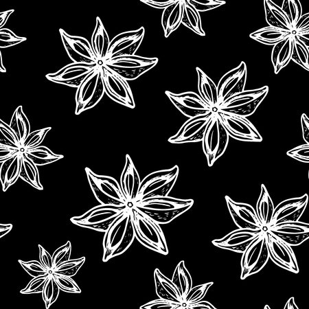 Vintage hand drawn Star Anise seamless pattern on black.  Dried Star Aniseed or lllicium Verum, Used for Seasoning in Cooking. Star anise dessert  spice fruit and seeds.  Vector illustration