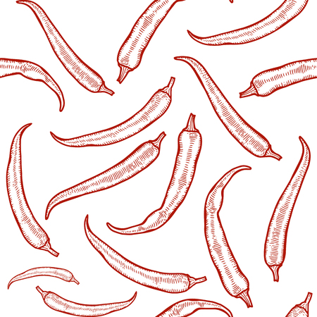 Vector hot chili peppers seamless pattern. Vintage engraving hand drawn illustration. Hot spicy mexican food.