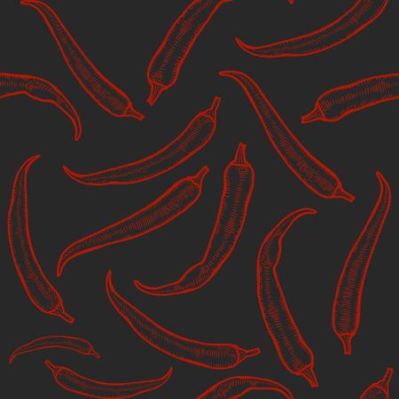 ベクトルホットチリペッパーシームレスパターン。●ヴィンテージ彫刻手描きイラスト。辛いメキシコ料理。