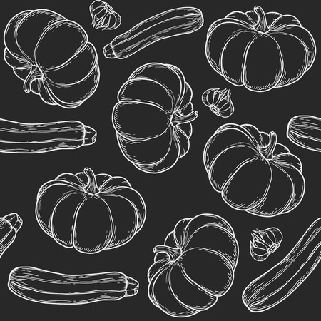 A Vegetarian food seamless pattern with hand drawn organic vegetables Vector vintage illustration.