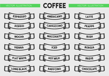 Coffee menu icon set. Beverages types of coffee. Vector engraving ribbons illustration isolated on brown background. Hand drawn design label.