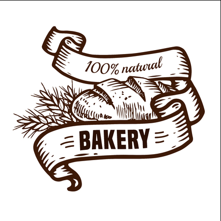 Vector design for bakery or baking shop  emblem with hand drawn bread and ribbons illustration. Bakery and bread logo  for bakery shop. For signage, logos, branding, label, product packaging. Illustration