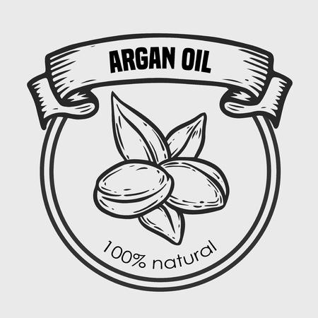 Argan vector drawing label nut oil, fruit, berry, leaf, branch, plant. Hand drawn engraved vector sketch illustration.