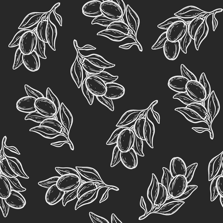 Seamless pattern of argan vector drawing nut oil, fruit, berry, plant. Hand drawn engraved vector sketch  illustration.