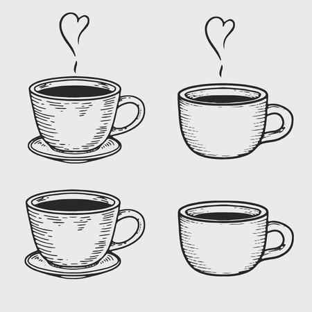 Tazza di caffè o tazze di tè incisione su sfondo chiaro. Illustrazione di vettore dell'insieme disegnato a mano d'annata per il menu e gli annunci.