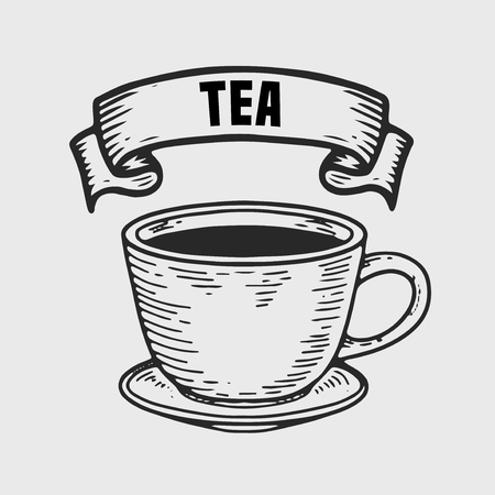 Tea vector engraving  label. Hand drawn engraved vector sketch etch illustration. Vintage ribbon Vettoriali