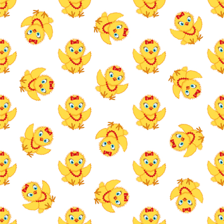 Baby chickens seamless pattern on white background. Cute cartoon chicken pattern. Funny yellow chickens in different poses, vector illustration. Illustration
