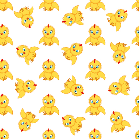 Baby chickens seamless pattern on white background. Cute cartoon chicken pattern. Funny yellow chickens in different poses, vector illustration. Ilustracja