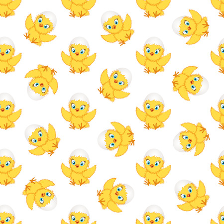 Baby chickens seamless pattern on white background. Cute cartoon chicken pattern. Funny yellow chickens in different poses, vector illustration. Çizim