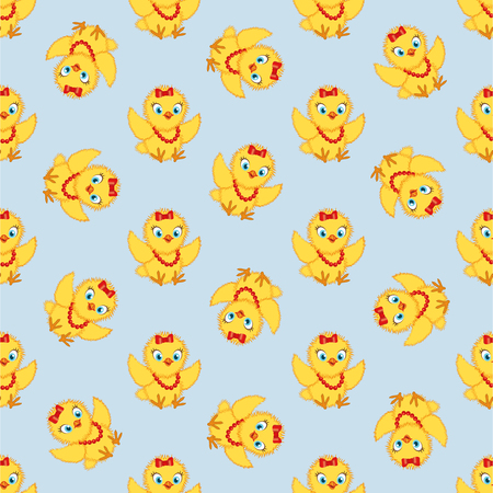 Baby chickens seamless pattern on blue background. Cute cartoon chicken pattern. Funny yellow chickens in different poses, vector illustration. Illustration