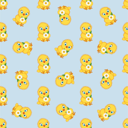 Baby chickens set isolated on blue background. Cute cartoon chicken set. Funny yellow chickens in different poses, vector illustration.
