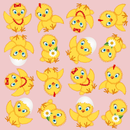 Baby chickens set isolated on white background. Cute cartoon chicken set. Funny yellow chickens in different poses, vector illustration. Çizim
