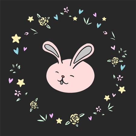 Happy cartoon Easter bunny vector illustration for greeting card, invitation with pink cute rabbit in flowers wreath.