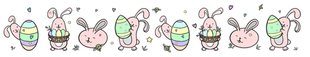 Happy Easter illustration vector border for greeting card, invitation with pink cute rabbit with egg and flowers.