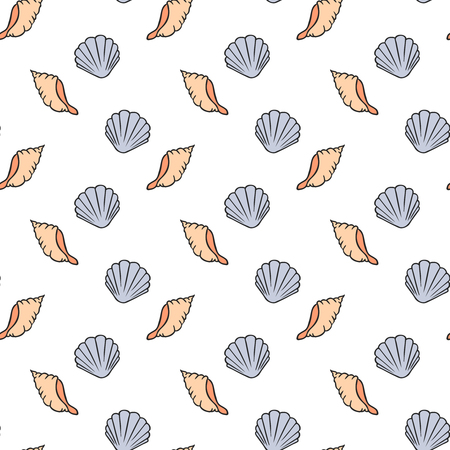 A Seamless pattern of seashells  vector illustration. Hand drawn illustration Иллюстрация
